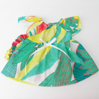 Clothes Green Dress Headband Set Handmade For Bitty Baby or Cabbage Patch Doll