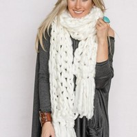 Oversized Chunky Knitted Scarf In White