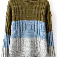 Colour Block Long Sleeve Knit Sweater