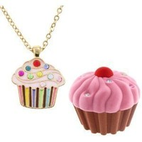 Kid's Cupcake Crystal & Enamel Pendant Necklace in Cup Cake shaped Gift Jewelry BOX