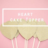 Big Heart Cake Centerpiece / Topper / Wand in Glitter Gold - For Engagement, Party, Wedding, Birthday, Baby Shower