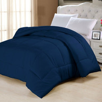 Twin size Navy Blue Down Alternative Comforter in Cotton Poly Blend Microfiber