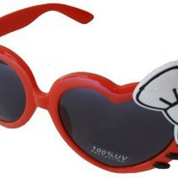 Sanrio Hello Kitty Meow Hearts Style Designer Inspired Wayfarer Sunglasses - Red Frame w/ White Bow