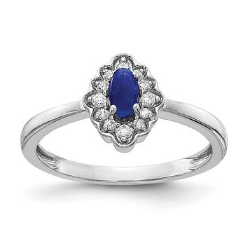 14k White Gold Real Diamond and Oval Cabochon Sapphire Ring