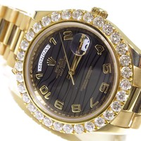 Rolex DayDate 41mm 218238 18K Yellow Gold Black Wave Dial 6.50ct Diamond Watch