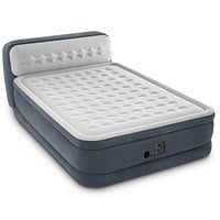 Intex 64447EP Ultra Plush Deluxe Air Mattress with Pump and Headboard, Queen