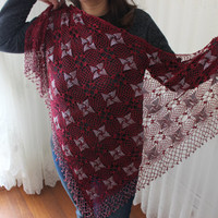 Fuchsia knitting shawl, Crochet knitted fuchsia shawl, Wrap for the night, Mother wedding shawl, The bride wedding shawl, Handmade shawl
