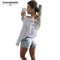 Lescamania Women New Summer Autumn Fashion Casual Hoodies Sweatshirts Full Sleeve Drop-shoulder Hollow Out Hoodies
