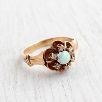 Antique 10K Rose Gold Opal & Diamond Ring - Vintage Victorian Cluster Size 5 Fine Jewelry / Late 1800s