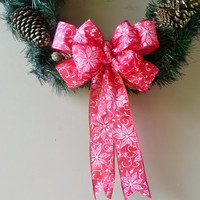 Red Christmas Bow- Red Poinsettia Bow-Red Gift Bow- Wreath Stair Rail Door Mailbox Tree Topper Decoration