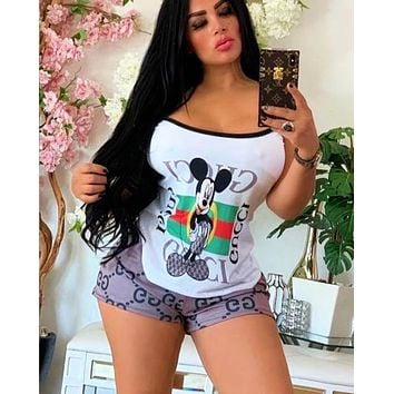 Onewel GUCCI Mickey Mouse Print White cartoon two-piece set Stripe Vest Shorts Two piece Suit Set White Grey