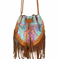 Drawstring Bucket Bag  Faux Fringe Tassel Shoulder Bag Boho Style