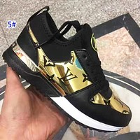 elainse29 LV Sneakers Lousi Vuitton Shoes Women Breathable Contrast Shoes Black Gold
