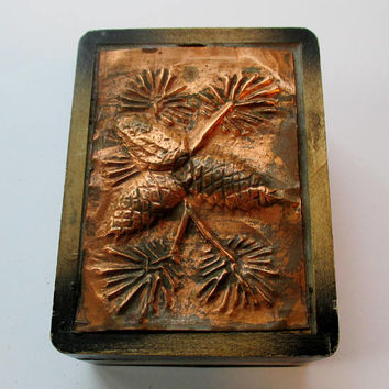 Small wooden box with hammered copper top, rectangular, pine cones design,  Made in Japan. Small Vintage Wood & Copper Box with Lid,