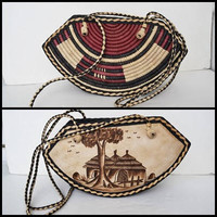 Leather and wicker bag, handbag