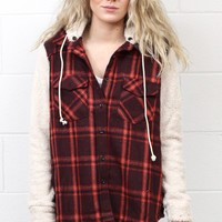 Lumberjack Flannel + Plush Sleeve Jacket {Burgundy}
