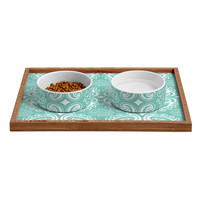 Heather Dutton Plush Paisley SeaSpray Pet Bowl and Tray