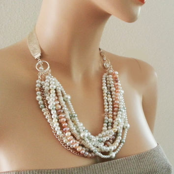NEW Pearl Chunky Wedding Necklace Turquoise Freshwater Pearl Crystal Statement Bib Bridal Ribbon Jewelry