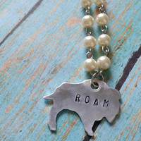 Pearl Bison Necklace / Rosary Style Jewelry / Cowgirl Chic Jewelry / Hand Stamped Jewelry / Outlaw Style Jewelry / Customizable Jewelry