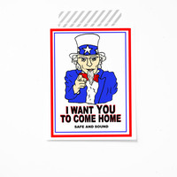 Uncle Sam Military Card - I want you to come home safe - Deployment card - Come home from deployment card. Army military card red blue