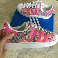 adidas Originals Superstar Flowers Print Fashion Shell-toe Series Flats Sneakers Sport Shoes