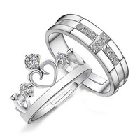 for Women Men =2pcs Sterling Silver Ring Jewelry Engagement Love Crown Cross Zircon Wedding Lovers Couple Rings SM6