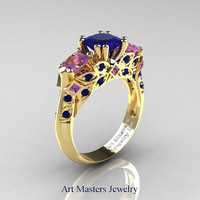 Classic 18K Yellow Gold Three Stone Princess Blue Sapphire Amethyst Solitaire Engagement Ring R500-18KYGAMBS