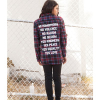No/Yes Flannel by Jac Vanek
