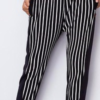 Autumn Winter Women Harem Pants Striped Pocket Style Long Length Loose Cotton Pants Elastic Waist Trousers