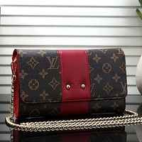 Louis Vuitton LV Women Fashion Leather Chain Tote Crossbody Shoulder Bag Satchel