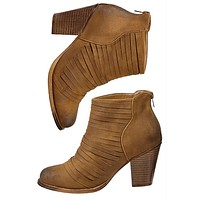 Camel Tan Strappy Leather Booties