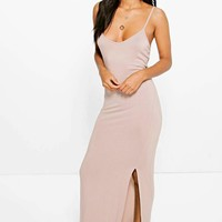 Selena Knot Cross Back Maxi Dress | Boohoo