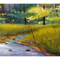 Painting Watercolor landscape Print Tree River Fall Creek stream