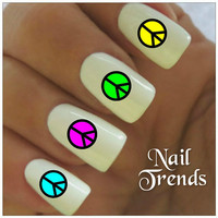 Nail Decal. 20 Neon Peace Signs Vinyl Stickers Nail Art