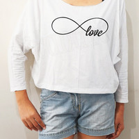 Infinity Love Shirts Infinity Shirts Infinity TShirts Bat Sleeve Shirts Crop Tee Long Sleeve Oversized Sweatshirt Women Shirt - FREE SIZE