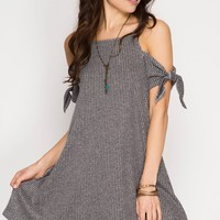 Grey Short Sleeve Ribbed Cold Shoulder Dress (final sale)