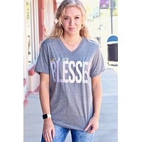 So Very Blessed V-neck Tee {Grey} - Size LARGE