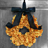 Halloween Hydrangea Wreaths, Halloween Decor, Halloween Wreath, Fall Hydrangea Wreath, Autumn Decor, Orange Hydrangeas, Etsy Fall Wreaths