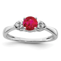 Sterling Silver Round Genuine Ruby And Diamond Ring