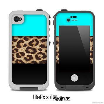Three-Toned Turquoise Cheetah V2 Skin for the iPhone 5 or 4/4s LifeProof Case