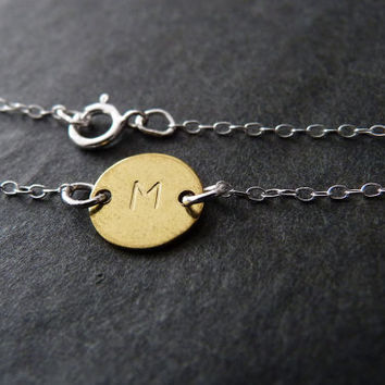 Personalized Bracelet, Custom Initial, STERLING SILVER, Monogram Jewelry, Unisex Gift, Handstamped
