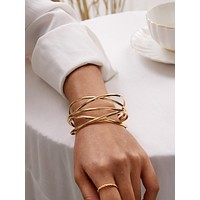 1pc Metallic Winding Cuff Bracelet