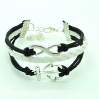 Black Rope and White Braided Leather Steampunk Adjustable Vintage Silver Karma Bracelet,infinity Wi