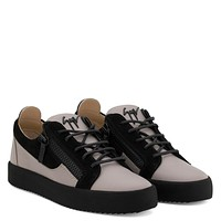 Giuseppe Zanotti Gz Frankie Grey Calfskin Leather Low-top Sneaker With Black Inserts