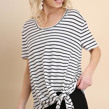 Black Striped Short Sleeve Top