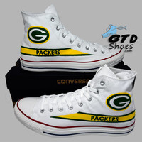 Hand Painted Converse Hi. Green Bay Packers. Football. Superbowl. White. Handpainted shoes.