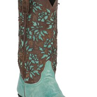 Old Gringo Women's Mary Lou Turquoise with Brown Floral Laser Zip Top Snip Toe Western Boots