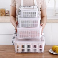 Kitchen Refrigerator Rectangular Plastic Household Storage Boxes Frozen Vegetables And Fruits Sealed Box Drain Box