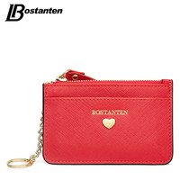 BOSTANTEN Famous Brand Lady Credit Card Holders Women 2017 Fashion Designer Coin Purse Zipper Ultra-thin Photo Key Holder Wallet