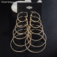 6 Pair / set Vintage Gold silver color Big circle Earrings for women Party Brincos accessories 2017 Fashion Hoop earring jewelry
